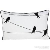 Yastıkminder Koton Siyah Beyaz Teldeki Kuş Motifli Yastık