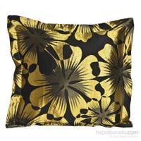 Yastıkminder Tafta Siyah Zemin Sarı Çiçek Dekoratif Yastık