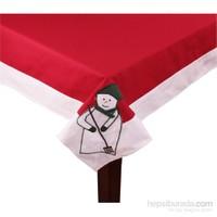 Yastıkminder Koton Kırmızı Kumaş Yeşil Kardan Adam Kare Masa Örtü