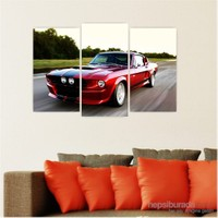 Dekoriza Klasik Ford Araba 3 Parçalı Kanvas Tablo 80X50cm