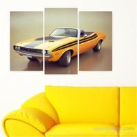 Dekoriza Klasik Sarı Dodge Araba 3 Parçalı Kanvas Tablo 80X50cm