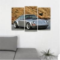 Dekoriza Porsche Spor Araba 3 Parçalı Kanvas Tablo 80X50cm
