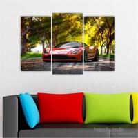 Dekoriza Kırmızı Spor Araba 3 Parçalı Kanvas Tablo 80X50cm