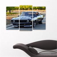 Dekoriza Spor Araba 3 Parçalı Kanvas Tablo 80X50cm
