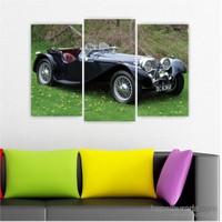 Dekoriza Siyah Klasik Araba 3 Parçalı Kanvas Tablo 80X50cm