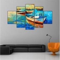 Ritmo Canvas Mavi Deniz Ve Tekne Canvas Tablo