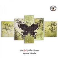 Artred Gallery 5 Parçalı Kelebek-2 Kanvas Tablo 125X56