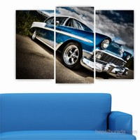 Dekoriza Klasik Mavi Araba 3 Parçalı Kanvas Tablo 80X50cm