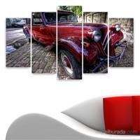 Dekoriza Klasik Kırmızı Araba 5 Parçalı Kanvas Tablo 110X60cm
