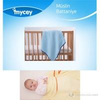 Mycey Müslin Kumaş Battaniye / Mavi