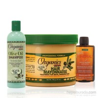 Organics Kimyasal İşlem Görmüş Onarıcı Saç Mayonezi Bakım Seti (Büyük) 3'Lü