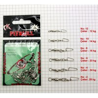Pitbull Barrel Swivel / Coastlock Snap - Nikel 10 Adet - No:8