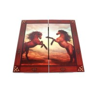 Star Lüx Figürlü Tavla Kahverengi Atlar