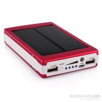 King Shark 10000 mAh 20 Ledli Solar Taşınabilir Powerbank Şarj Aleti Bordo