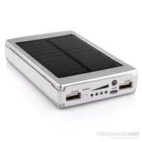 King Shark 10000 mAh 20 Ledli Solar Taşınabilir Powerbank Şarj Aleti Gümüş