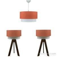 Crea Lighting Doubleshade Ceviz Yatak Odası Set/Keten/Turuncu