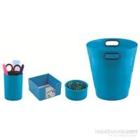 Ark Collection Ofis Seti Neo Mavi (Çöp kovası + Kalemlik + Küpnotluk + Ataşlık)