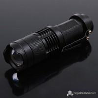 B&T- K66 Mini Zoomlu İkaz Flaşörlü Led Şarjlı El Feneri + Yedek Pil Hediyeli 80181