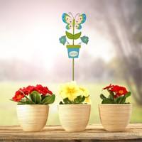 Bosphorus Ahşap Kelebek Saplamalı Bahçe Süsü Mav