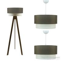 Crea Lighting Doubleshade Ceviz Salon Set/Keten/Kahve