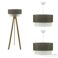 Crea Lighting Doubleshade Naturel Salon Set/Keten/Kahve