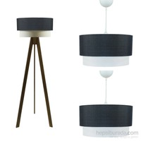Crea Lighting Doubleshade Ceviz Salon Set/Keten/Siyah