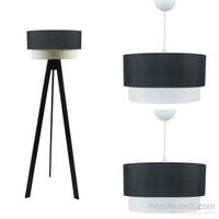 Crea Lighting Doubleshade Siyah Salon Set/ Keten/Siyah