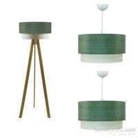 Crea Lighting Doubleshade Naturel Salon Set /Wood/Yeşil Armut