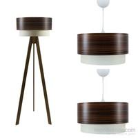 Crea Lighting Doubleshade Ceviz Salon Set/Wood/Dragon Ceviz