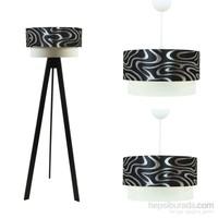 Crea Lighting Doubleshade Siyah Salon Set /Gümüş Dalga