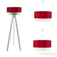 Crea Lighting Doubleshade Beyaz Salon Set/Saten/Kırmızı