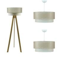 Crea Lighting Doubleshade Naturel Salon Set /File/Sütlü Kahve