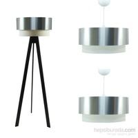 Crea Lighting Doubleshade Siyah Salon Set/ Pvc/Chrome