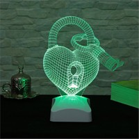 Dekorjinal 3 Boyutlu Anahtarlı Kalp Lamba V23d092