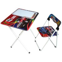 Speed Cars Yazılı Tahtalı Masa Sandalye Seti Model 2