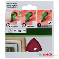 Bosch - Delta Zımpara Kağıdı 5'Li, 93 Mm 240 Kum 6 Delik
