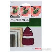 Bosch - Multi Zımpara Kağıdı 10'Lu, 102 X 62/93 Mm 40 Kum 11 Delik