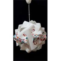 Puzzle Pya049 Beyaz/Kırmızı Çiçek Desenli Avize