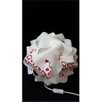 Puzzle Pyabj027 Beyaz/Kırmızı Kalp Desenli Abajur