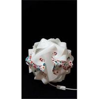 Puzzle Pyabj049 Beyaz/Kırmızı Çiçek Desenli Abajur