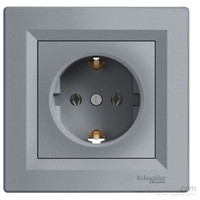Schneider Electric Asfora Plus Topraklı Priz Çelik