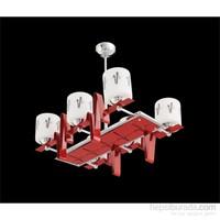 Sedef Krom Dekoratif 6'Lı Avize - Kırmızı