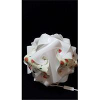 Puzzle Pyabj056 Beyaz/Sarmaşık Çiçek Desenli Abajur