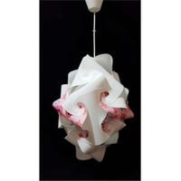 Puzzle Pka033 Beyaz/Renkli Çiçek Desenli Avize