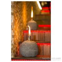 GardenLife Dekoratif Gaz Lambası - Yuvarlak Beton Gazlı Mumluk S
