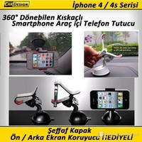 CRD iPhone 4/4S Kıskaçlı Araç İçi Telefon Tutacağı (360° Dönebilir)