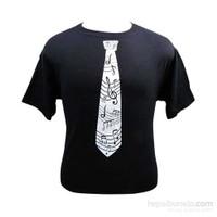 Notalı Kravat Desenli Tişört