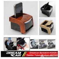 Dreamcar Çok Fonksiyonlu Bardaklık+Küllük+Telefon Tutucu Birarada Karbon 4607005