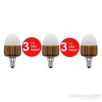 Hizmark 3,6Watt Led Ampul =20Watt E-14 Duylu Sarı Işık - Eko 3'lü Paket