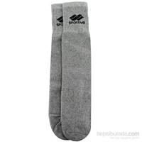 Sportive Topuksuz Kisa Havlu Çorap Gri
